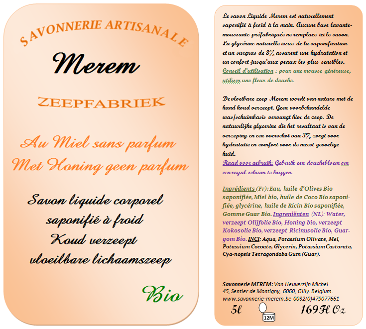 Savon liquide corporel bio au miel sans parfum